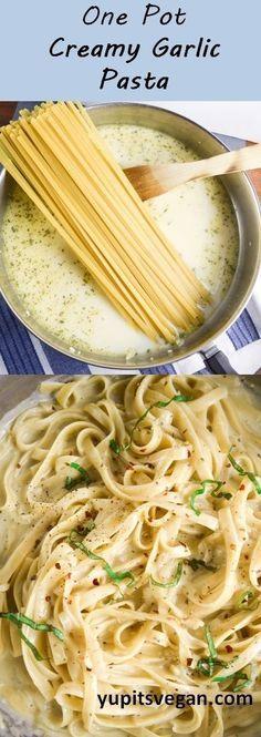 One Pot Creamy Garlic Pasta | http://yupitsvegan.com. Easy vegan fettuccine alfredo-style pasta dish that all cooks together in one pot.