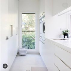 Laundry with wall of storage/linen cupboard. Provision for brooms, mops, vacuum. Laundry with wal Laundry Decor, Laundry Room Organization, Laundry Storage, Laundry Room Design, Laundry In Bathroom, Modern Laundry Rooms, Modern Room, Laundry In Kitchen, Garage Laundry