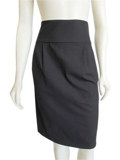 """With it's high waisted cut, pleated details and slant pockets at the hips this Theory skirt will have you dreaming of the work week! Made from the lines signature """"Tailor"""" stretch wool material and done in a great basic black color, this skirt features a hidden back zip, single back vent, and above the knee hem... A classy contender for your work capsule wardrobe, or """"must have basics"""" ideas board! #Theory #Clothing #Brand #Tailor #Skirt #sale"""