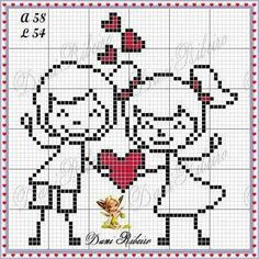 This Pin was discovered by Mih Kawaii Cross Stitch, Small Cross Stitch, Cross Stitch Heart, Cross Stitching, Cross Stitch Embroidery, Cross Stitch Patterns, Cross Love, Stitch Doll, Wedding Cross Stitch