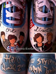 Custom One Direction Shoes by Music4TheSole on Etsy, $40.00 i'm getting these before I die :) <3