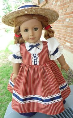 """18"""" Doll Clothes Patriotic Summer Picnic Outfit for July 4th Fits American Girl Cecile, Marie Grace, Addy, Kirsten by Heyjude01"""