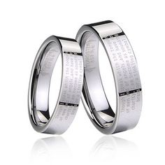 Couple's polished Bible engraved tungsten carbide band set - Tungsten Republic