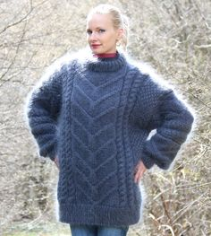 Cable knit sweater hand knitted thick mohair pullover fuzzy jumper by SuperTanya Thick Sweaters, Cable Knit Sweaters, Women's Sweaters, Mohair Yarn, Mohair Sweater, Icelandic Sweaters, Pullover, Sweater Design, Sweater Outfits