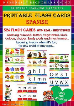 Spanish vocabulary, learning teaching, downloadable printable flash cards, fun easy learning materials, naturally richer, homeschool, teacher, children, school, Spanish flashcards fruits, vegetables, animals, shapes, body parts letters colors food numbers letters in Spanish, easy fun learning, fast Spanish Flashcards, Spanish Vocabulary, Fun Learning, Teaching Kids, Body Parts, Numbers, Homeschool, Teacher, Printables