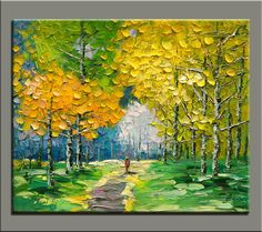 original oil painting,impasto  oil on canvas,hand painted,framed,ready to hang,huge 36''x30''  palette knife painting forst landscape-OR155 via Etsy