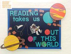 Reading Bulletin Boards - Fushion News Space Bulletin Boards, World Bulletin Board, Summer Bulletin Boards, Reading Bulletin Boards, Classroom Bulletin Boards, Preschool Bulletin, Bulletin Board Design, Classroom Ideas, School Library Displays