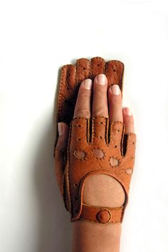 Fingerless Peccary Leather Driving Gloves for Women by Ines