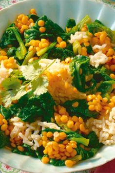 Linsen-Curry mit Spinat Chana Masala, Risotto, Vegan, Ethnic Recipes, Food, Lentil Curry, One Pot, Salads, Turmeric