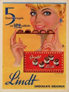 <3 Vintage Ads Food, Vintage Food Posters, Pub Vintage, Vintage Advertising Posters, Vintage Advertisements, Poster Vintage, Chocolat Lindt, Lindt Chocolate, Swiss Chocolate