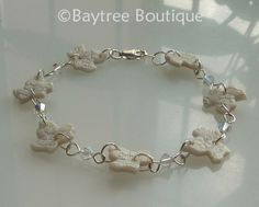 Polymer clay ivy leaf and Swarovski crystal bracelet by Baytree Boutique.  Ideal for brides.