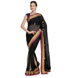 Black Georgette Saree with Brocade Border | Fabroop