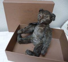 "ANTIQUE STEIFF BEAR 1908-1911 4 CLAWS 12"" MOHAIR. DARK BROWN. VERY GOOD #Steiff"