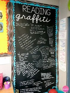 Fostering a classroom reading community with a student driven reading graffiti wall middle school reading, 5th Grade Classroom, Middle School Classroom, Classroom Setting, Classroom Design, Classroom Themes, Classroom Organization, English Classroom Decor, Year 3 Classroom Ideas, High School