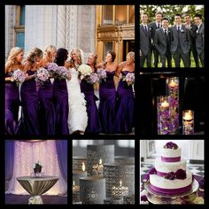 Purple and silver, gray wedding.