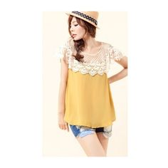 Round Neck Hollow Women Yellow Korean Style Blends Tops One Size... ($13) via Polyvore