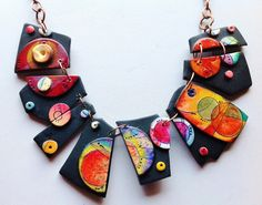 """Polymer clay, """"Surreal"""" necklace, MAKE TO ORDER, unique, handmade, hand painted, parure earrings to order by ImpastArte on Etsy https://www.etsy.com/listing/244753340/polymer-clay-surreal-necklace-make-to"""