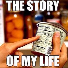 Counting my calories and chemicals. Story of my life.