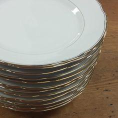 10 Oversized Bowls Bavarian Porcelain China ~ Porzellanfabrik Moschendorf Bavaria ~ Solid White, Gold Rims & Inset Band by FeeneyFinds on Etsy