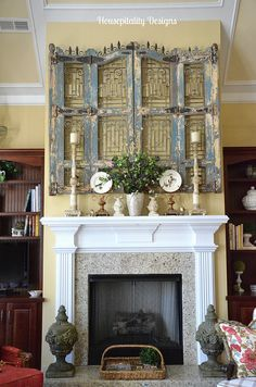 Spring Mantel 2014 Love the old wood & wire frame over/behind everything. Rustic Fireplaces, Fireplace Mantle, Salvaged Decor, White Mantel, Over The Door Mirror, Room Accessories, Architectural Elements, Home Decor Inspiration, Vintage Decor