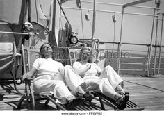 German tourists sunning themselfs on the deck of a ship, 1939 - Stock Image