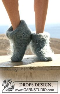 """DROPS felted slippers in double thread """"Vienna"""". ~ DROPS Design"""