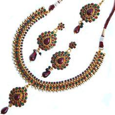 Maayra Maroon Green Traditional Necklace Set