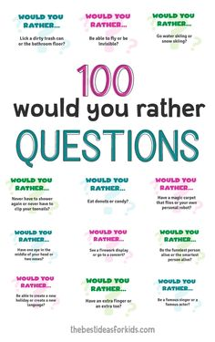 100 Fun Would You Rather Questions for Kids. Funny and silly questions kids will love! Free printable cards or a one page printable available. First Day Of School, Middle School, Beginning Of The School Year, Communication Orale, Would You Rather Questions, Would You Rather Kids, This Or That Questions, Fun Questions To Ask, What If Game Questions