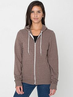 Our classic zip-up style, now available in Tri-Blend. Our unique Tri-Blend Terry, a Cotton/Poly/Rayon blend, is ultra-soft, with a heathered look.