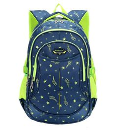 Teenager Girls Boys School Bag Star Pattern Backpack Waterproof Oxford Fabric…