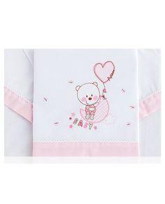 Bonito  juego de sábanas de bebé tres piezas bordado con un osito  y en 100% algodón, en tres colores diferentes para cuna. Los mejores precios en Revitex online