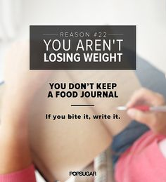 You can't slim down by exercise alone. It's important to cut calories as well and to know your daily calorie intake. Though it may seem tedious, keeping a food journal works — in fact, one study found that those who logged what they ate six days a week lost twice as much weight as those who only kept track of a day or less. In order to lose a pound a week, you need to cut 500 calories a day — 250 through exercise and 250 through diet is a good breakdown. Just be sure not to dip below 1,200…