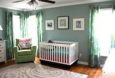 Blue and green gender neutral nursery