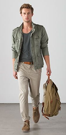 County Road - pistachio green jacket, grey low crew neck t-shirt, rolled brown leather belt, khaki pant, brown chukka boots...he needs to get into the pants!!