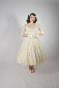RESERVED for Ivy Vintage 1950s Wedding Dress // The by FabGabs