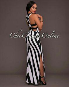 Black-White Striped Cut Out Draped Side Slit Floor Length Bohemian Maxi Dress Classy Dress, Classy Outfits, Chic Outfits, Dress Outfits, Fashion Outfits, Sexy Dresses, Beautiful Dresses, Casual Dresses, Cheap Dresses