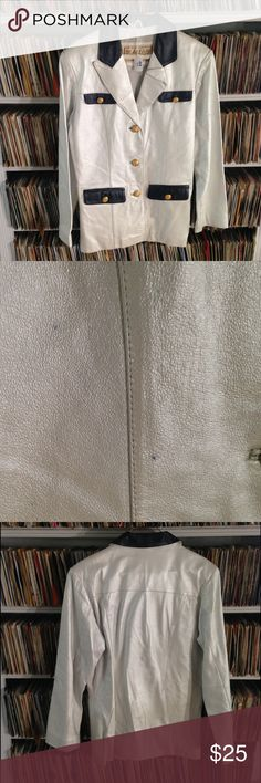 Vintage Braefair Leather coat pearl white luster This vintage leather jacket is a very fun addition to your fall wardrobe. Made in the 1980's. It's in good condition but I did find a couple of small spots I showed in the pictures. Overall it looks sharp. Vintage Jackets & Coats