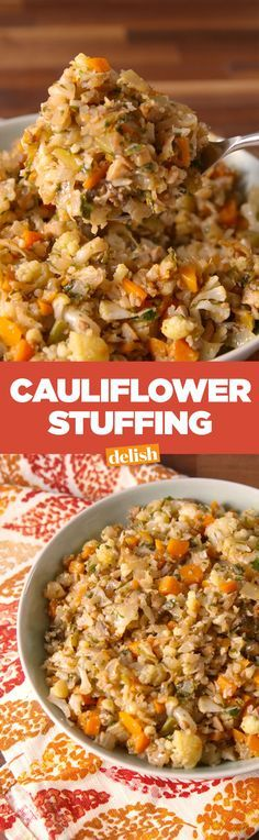 stuffing is the low-carb Thanksgiving side you've always wanted. Cauliflower stuffing is the low-carb Thanksgiving side you've always wanted.Cauliflower stuffing is the low-carb Thanksgiving side you've always wanted. Bariatric Recipes, Low Carb Recipes, Vegetarian Recipes, Cooking Recipes, Healthy Recipes, Bariatric Eating, Cooking Videos, Pureed Recipes, Vegan Meals