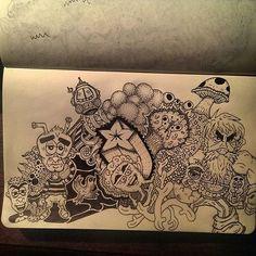 #doodle pile. #doodlings #doodleart #drawing #pen #ink #scribbles #cartooncharacter