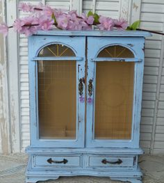 Shabby Chic Ocean Blue Tall Jewelry Box by RusticPrairieCottage, $40.00