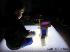 DIY Colour Blocks for the Light Box – Day 79 Toddler Play Challenge - Adventures of Adam
