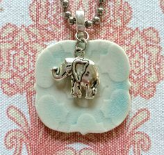 Lucky Elephant Pendant, Ceramic Necklace, Elephant Charm necklace, Aqua, pottery pendant, ceramic necklace, Moroccan style necklace, India