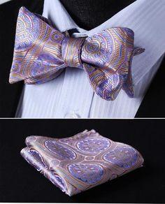 Mens Silver Grey Circles Squares Bow Tie Self Tie Hanky Neckwear Set