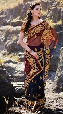 Stylish Net Embroidered Saree with Patch Work #saree-online #saree-fashion