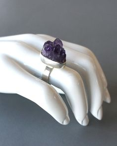 Helge Narsakka for Kaunis Koru, 1968 The unrefined and deep purple surface of the amethyst looks as if it were freshly cut from a geode. This natural stone is perfectly juxtaposed to the clean and stu Amethyst Jewelry, Amethyst Stone, Weird Jewelry, Jewelry Art, Mix Style, Deep Purple, Natural Stones, Jewerly, Heart Ring