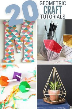 Geometric designs are showing up everywhere like home decor, artwork, jewelry and more! Click here for 20 Geometric Craft tutorials. #thecraftyblogstalker #diydecor #geometric #geometriccrafts