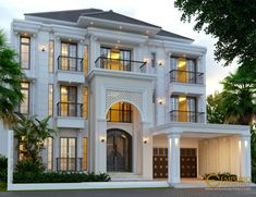 Ines Private House Design - Jakarta- Quality house design of architectural services, experienced professional Bali Villa Tropical designs from Emporio Architect. Modern Exterior House Designs, Classic House Exterior, Classic House Design, House Front Design, Dream Home Design, Cool House Designs, Modern House Design, House Construction Plan, Small Villa