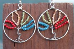 Hammered Sterling Silver Rainbow Tree of Life Earrings, by Cindy Larson Accessories