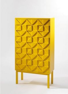 On trend: Geometric shapes.even in furniture! love this beautiful yellow sideboard Funky Furniture, Design Furniture, Cabinet Furniture, Colorful Furniture, Contemporary Furniture, Furniture Decor, Furniture Inspiration, Design Inspiration, Yellow Cabinets