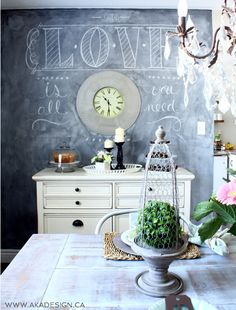 Paint a chalkboard wall in the dining room - fun to add different messages eclecticallyvintage.com